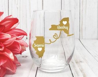 Best Friends Wine Glass, Best friend Gift, Long Distance Best Friend, Best Friend Birthday Gift, Best Friend Long Distance,
