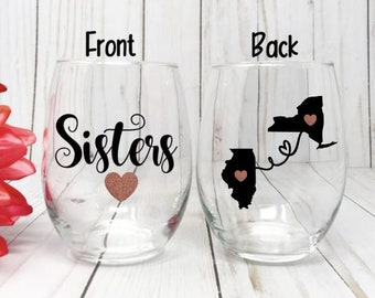 Sister Wine Glass Best Friend Gift Birthday Big Little State