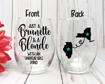 Best Friend Wine Glass Gift Long Distance Birthday Blonde And Brunette