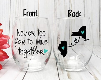 Best Friend Wine Glass Gift Long Distance Birthday