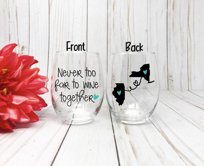 Best Friend Wine Glass Gift Long Distance