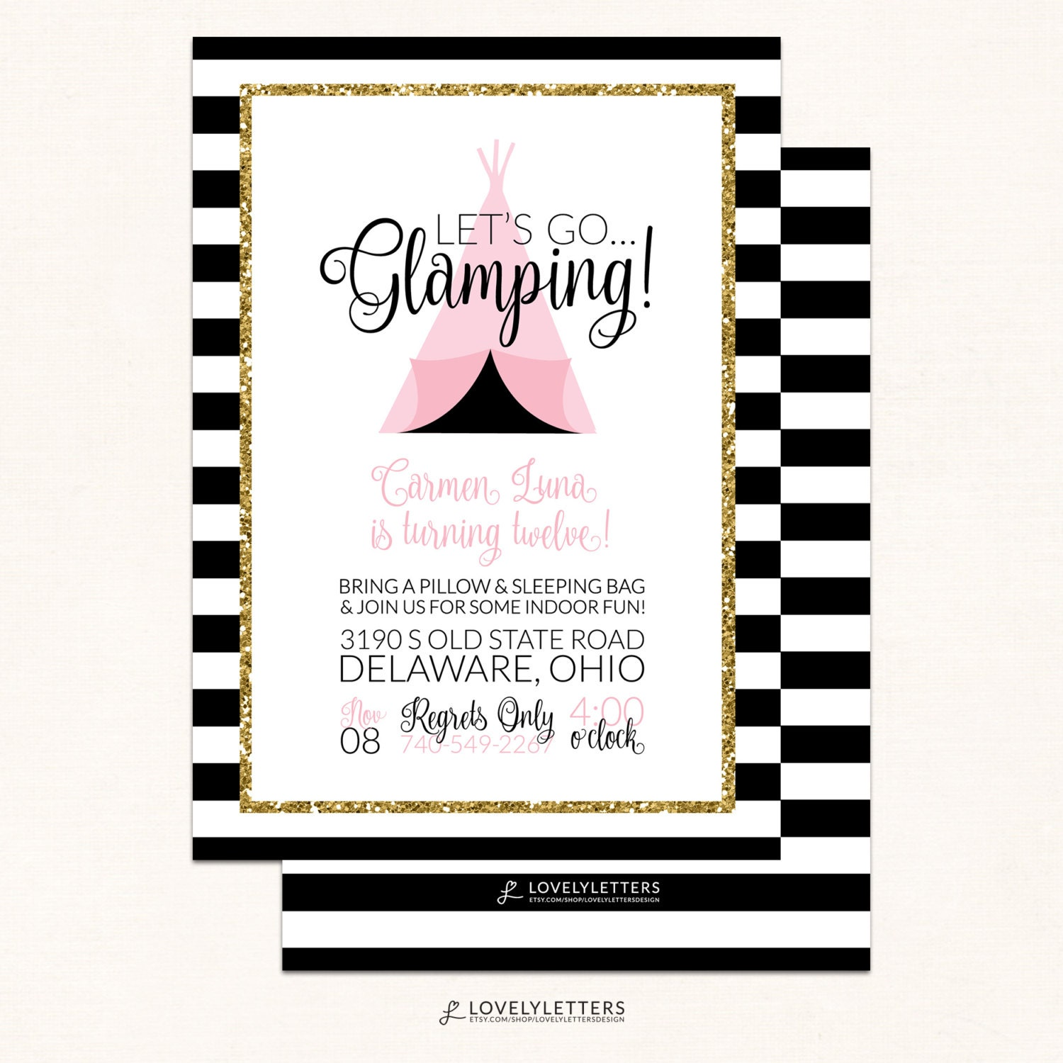 Glamping Birthday Invitations / Camping Invitation / Digital | Etsy