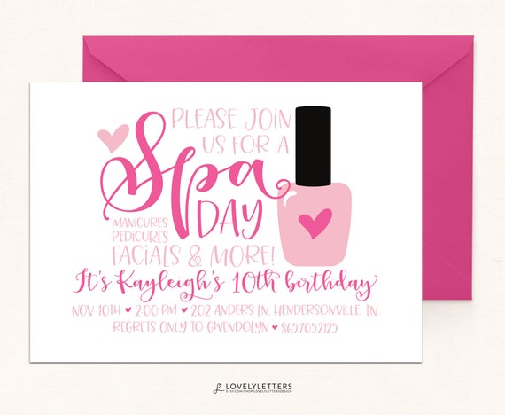 Spa Birthday Day Party DIGITAL Invite Pamper