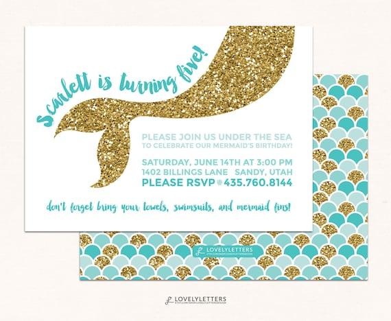 Mermaid Birthday Invitation Glitter