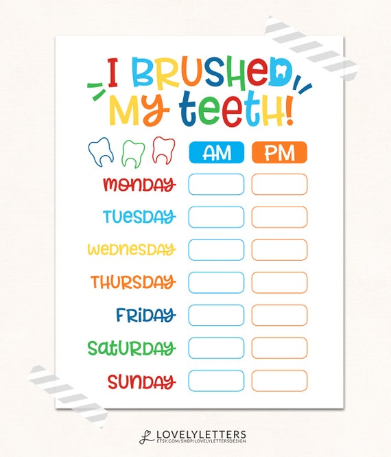Teeth brushing chart digital i brushed my teeth kids etsy