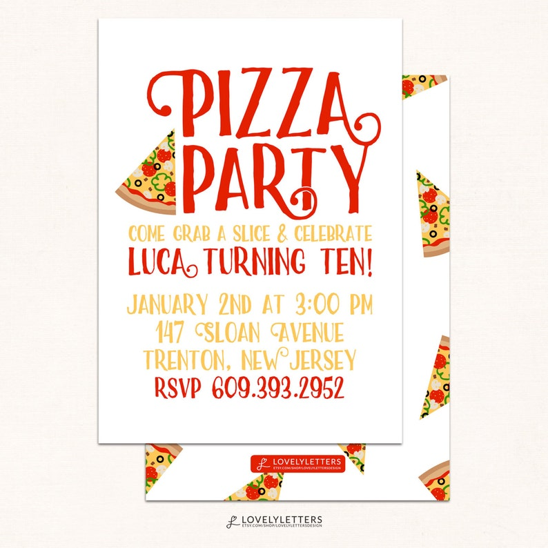 Pizza Party Invitation Pizza Invitation Pizza Party Invite Etsy