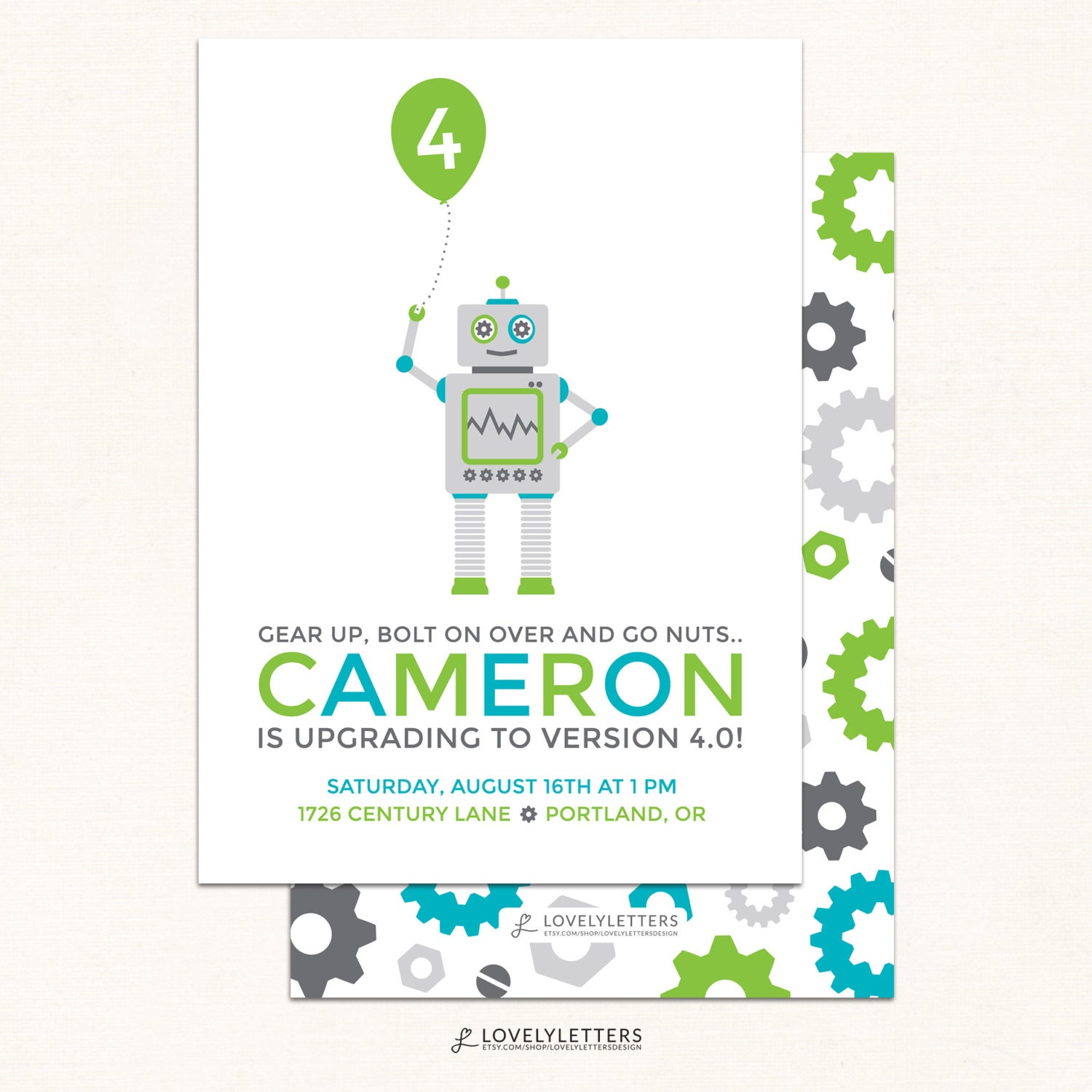 Robot Birthday Invitations Invitation Modern