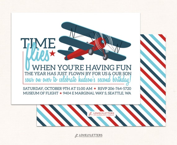 Airplane Birthday Invitation Vintage Retro