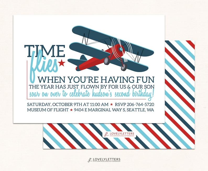 Airplane Birthday Invitation Vintage