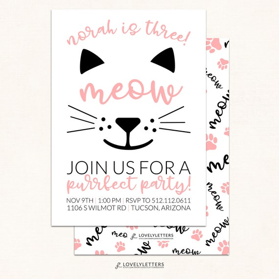 Kitty Invitation Digital Kitty Birthday Invitation Etsy