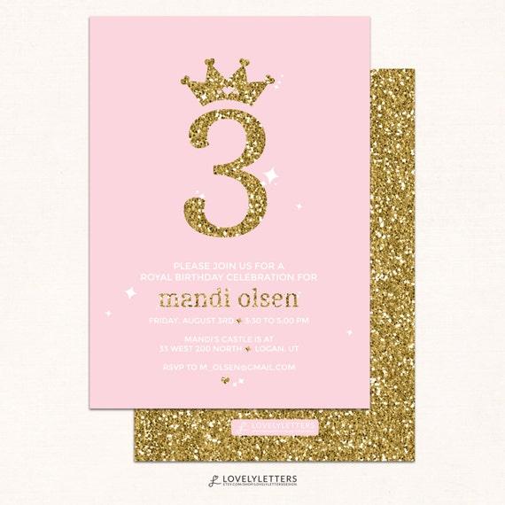 Princess Birthday Invitation / Pink & Gold Invitation