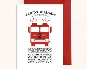 Firetruck Invitation / Firetruck Birthday Invitation / Modern Boy Birthday Invites / Dalmatian Birthday Invitations / Fireman Birthday