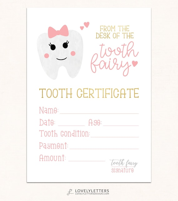 image about Free Printable Tooth Fairy Receipt referred to as Teeth Fairy Certification / Electronic / Enamel Fairy Printable