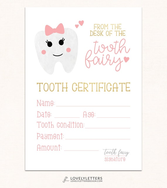 photo regarding Printable Tooth Fairy Certificate called Enamel Fairy Certification / Electronic / Teeth Fairy Printable