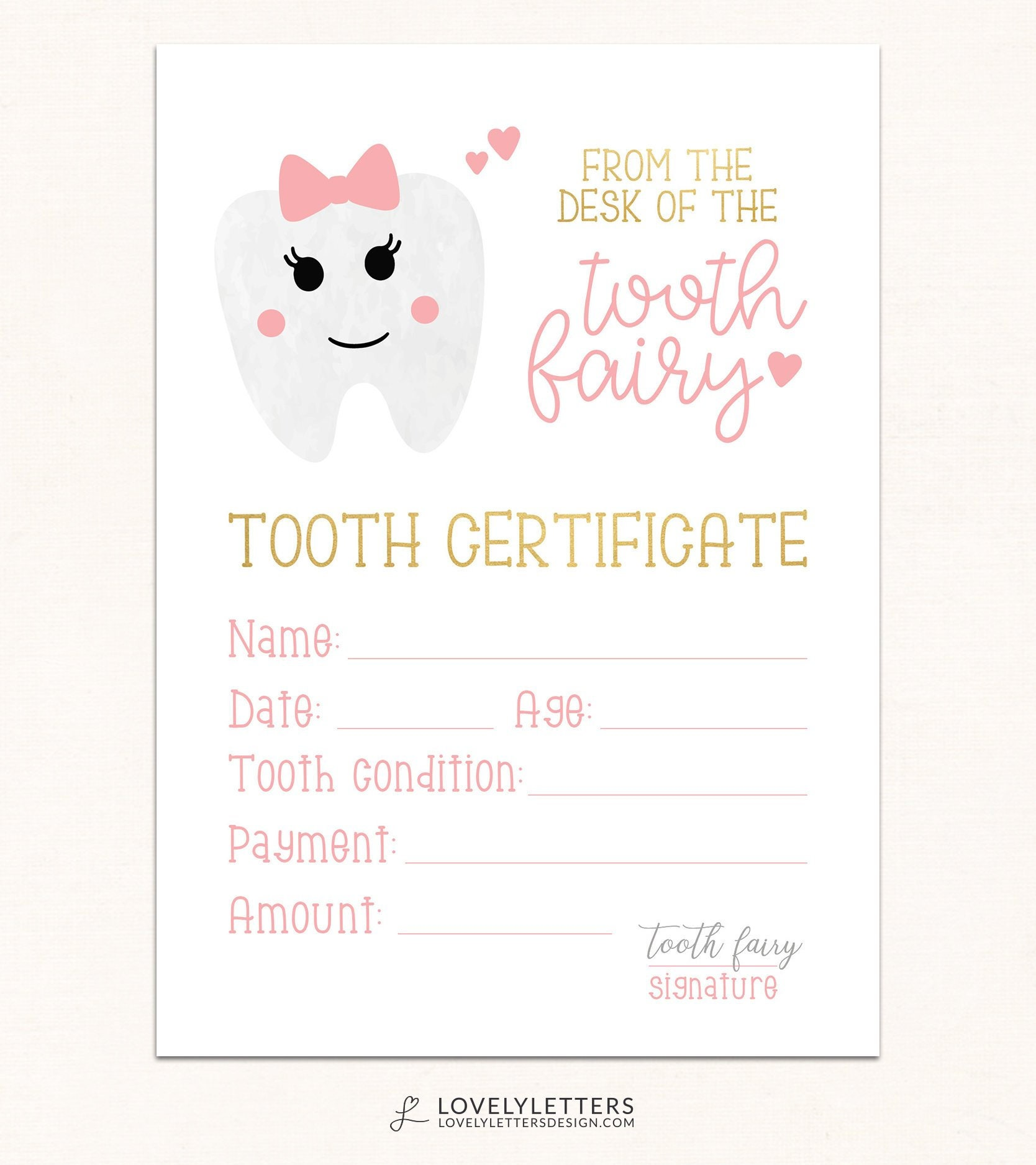 This is a graphic of Modest Tooth Fairy Certificate Printable Girl
