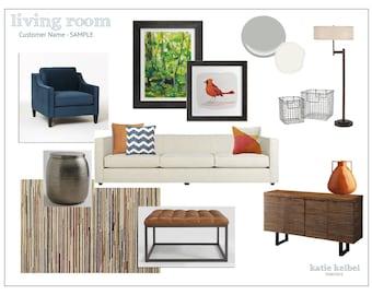 Living Room Interior Design, E-Decorating, E-Design, E-Designer, E-Decorator, Interior Design Service