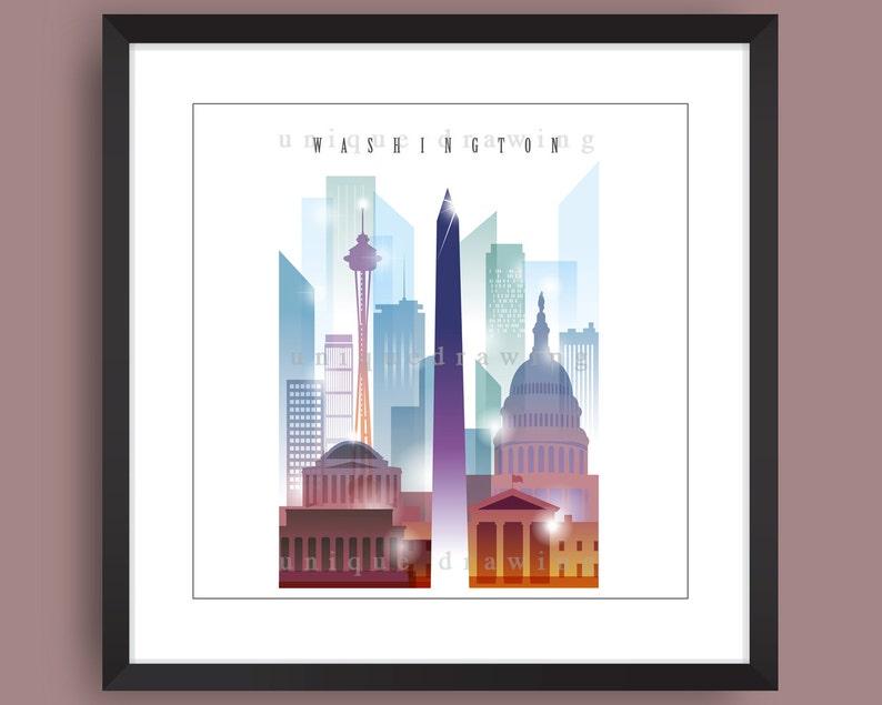 City of Washington poster Washington DC skyline Washington home deco art,4107 Washington art Washington painting Washington landmarks