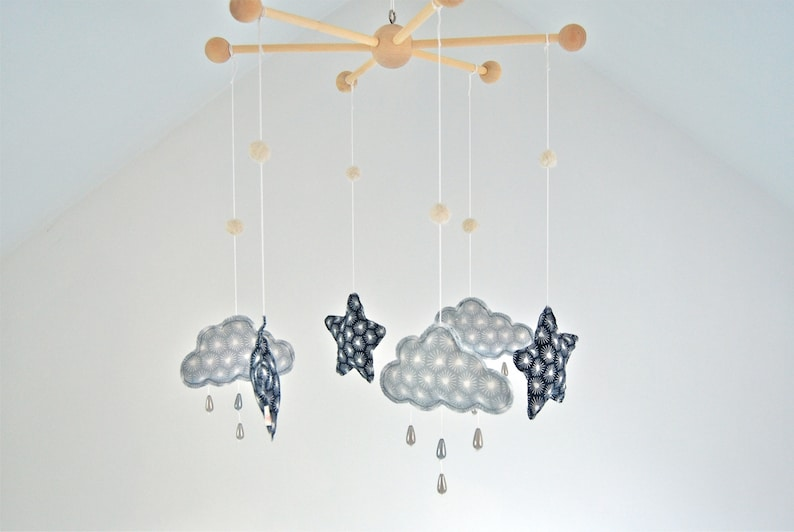 Mobile Stars And Clouds With Rain Wood Beads Fabric And Organic Cotton Creation And Eco Friendly Decoration For Baby S Room