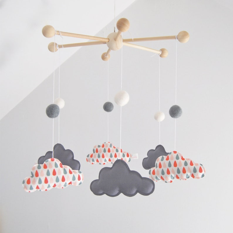 Baby Pink And Grey Cloud Mobile Small Patterns Drops Creating Eco Friendly Wood Fabric And Cotton Organic