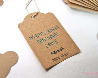 Set of 10 tags recycled kraft - friendship quote