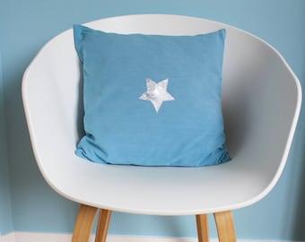Petrol blue cushion cover - silver star - for standard cushion size - 40X40 - child or teen room decor