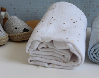 Large baby diaper in double white cotton gauze mustard, large diaper 70x70 cm, large white double cotton gauze towel