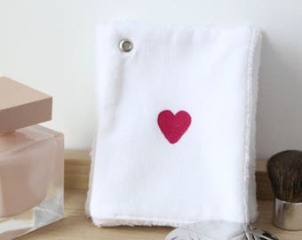 White Wipes Heart / Square Cleanser / Reusable Cotton / Square Cotton Baby / Cleansing Wipe Cotton / Gift For Her