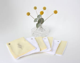 Baby wash wipes - '' yellow and silver '' wipes - cotton remover squares - reusable washable wipes