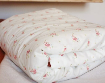 LEONIE poplin blanket soft cotton mixed baby, pink floral fleece blanket, liberty pink flowers style blanket, baby plaid