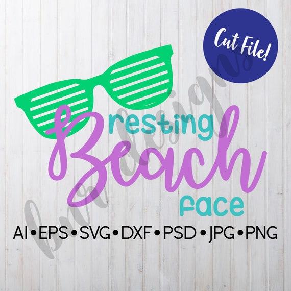 Resting Beach Face Svg Summer Svg Dxf File Cricut File Etsy