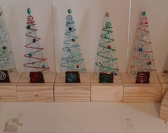 Fused glass Christmas tree on stand