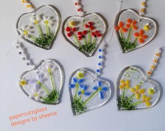 Fused glass flower heart