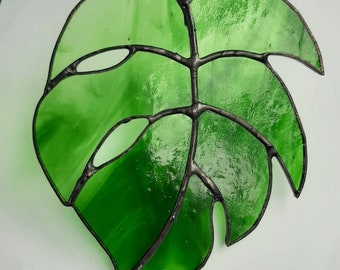 Stained glass monstera cheese plant leaf