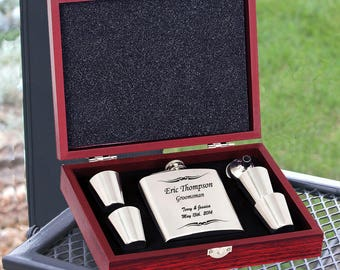 Engraved Flask Groomsmen Gift Set