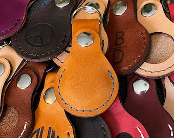 AirTag Leather Keychain, Personalized Leather Airtags, AirTag Keyring Leather Case, Airtags Case