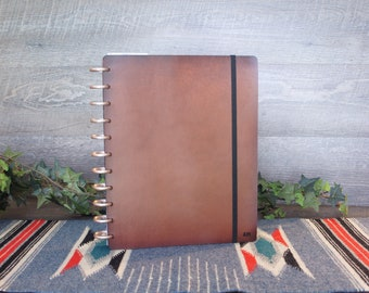 Discbound Leather Planner Cover, Personalized Planner Cover, Classic Planner Covers, Letter Size Planner Cover