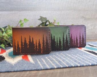 Minimalist Leather Wallet Sunset Wallet Slim Wallet Front Pocket Wallet Engraved Wallet Personalized Wallet