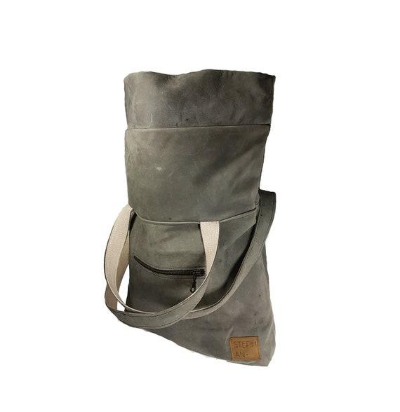 Nubuck Leren Bank.Gray Backpack Totepack Handmade Rucksack Leather Bag Etsy