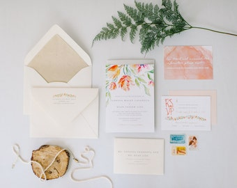 Botanical No. 2 | Coral + Sage, Dusty Blue, Gold Envelope Liner, Pretty Pink Watercolor Insert Cards