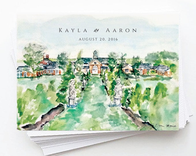 Elawa Farm, Lake Forest, IL, Natural, Sage Green, Watercolor Save the Date