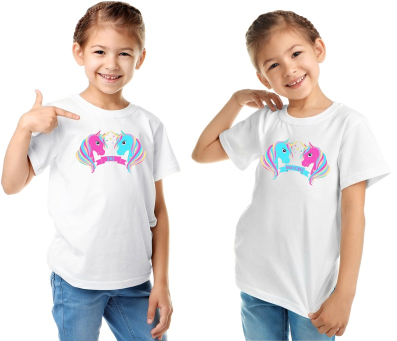 Toddler Tees Personalized Names with Unicorns for Twin Girls on Baby Shirts Optional Unicorn Plush Toys Onesies