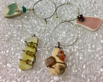 Beach Pottery Wine Charms