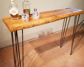 Hairpin Leg Console Table, Reclaimed Wood Table, Narrow Sofa Table, Entry  Table, Rustic Table, Natural Edge Table, Sideboard Table, Wine Ba