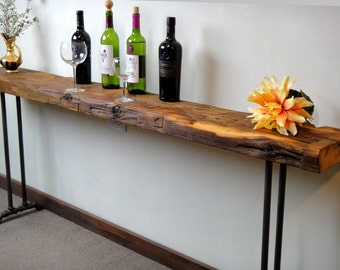 Narrow Console Table Reclaimed Wood Table Accent Long Sofa Entry Hall Entryway Farmhouse Industrial Design