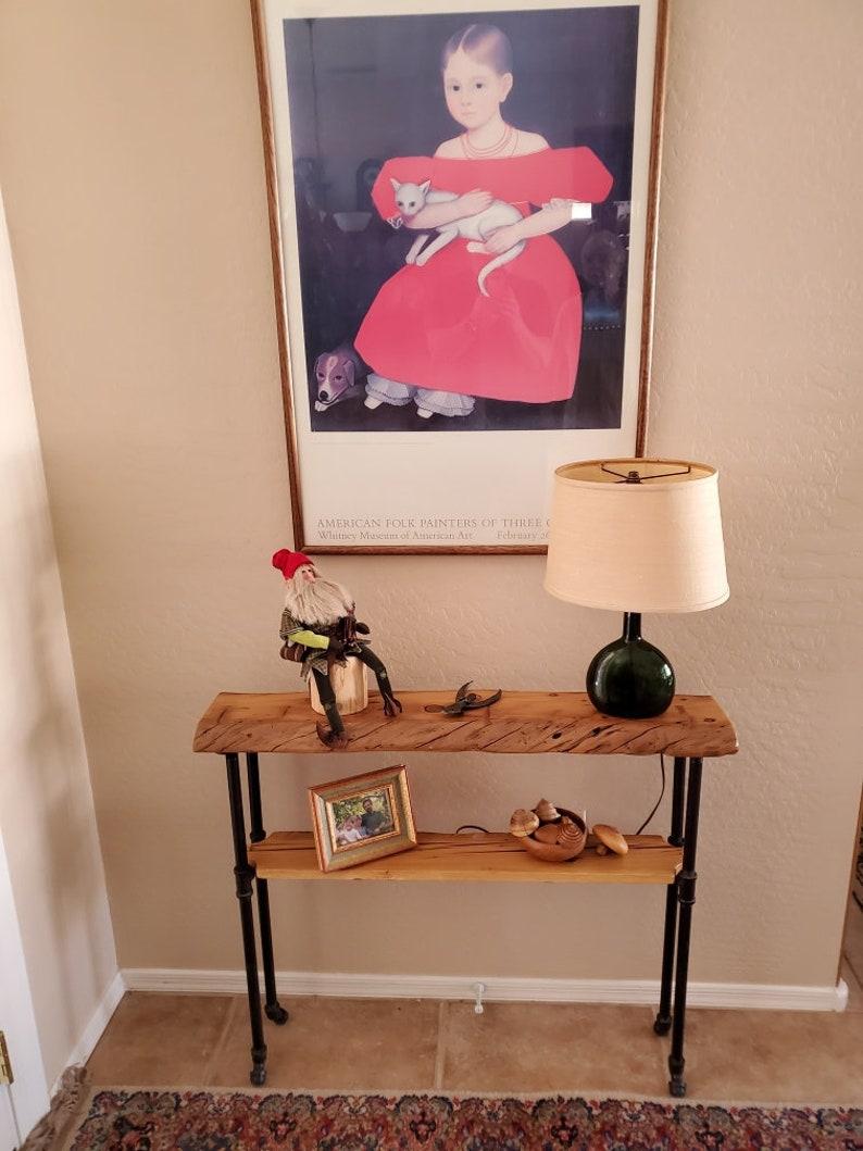 Narrow Console Table with Shelf Reclaimed Wood Table Shelf image 0