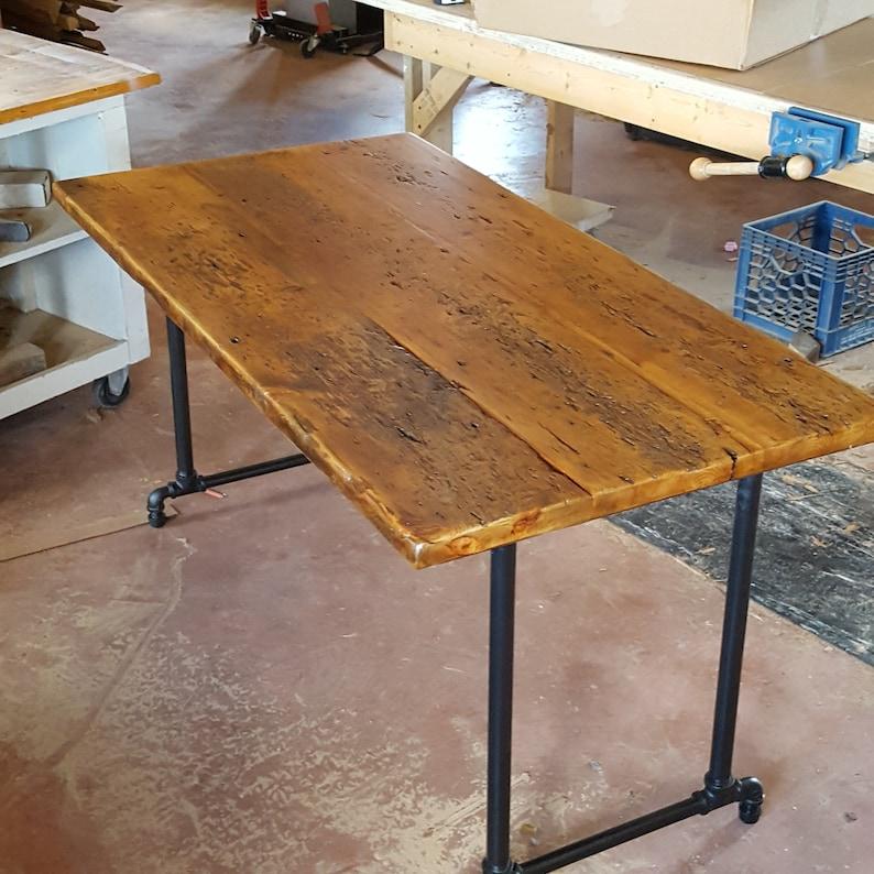 Reclaimed Wood Desk Barn Threshing Floor Dining Table image 0