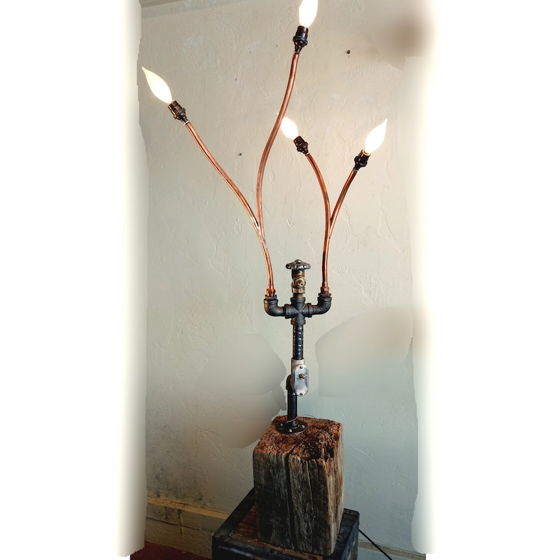 Steampunk Table Lamp Copper Pipe Lamp  Barn Beam Table Lamp image 0
