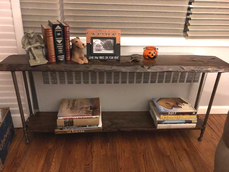 Console Table with Shelf Narrow Sofa Table Reclaimed Wood image 0