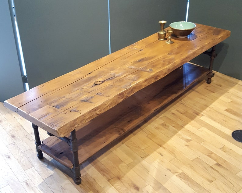 Reclaimed Wood Coffee Table with Shelf Live edge Media Table image 0