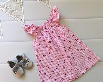 Girls Dress, baby dress, Flutter Sleeve Dress, Size 0 ,Cherry Love, handmade baby dress, baby girls dress, party dress, ready to ship